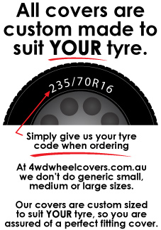 All Covers are custom made to suit your tyre size.